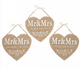 Mr & Mrs Hanging Wooden Hearts Available in 3 Styles.